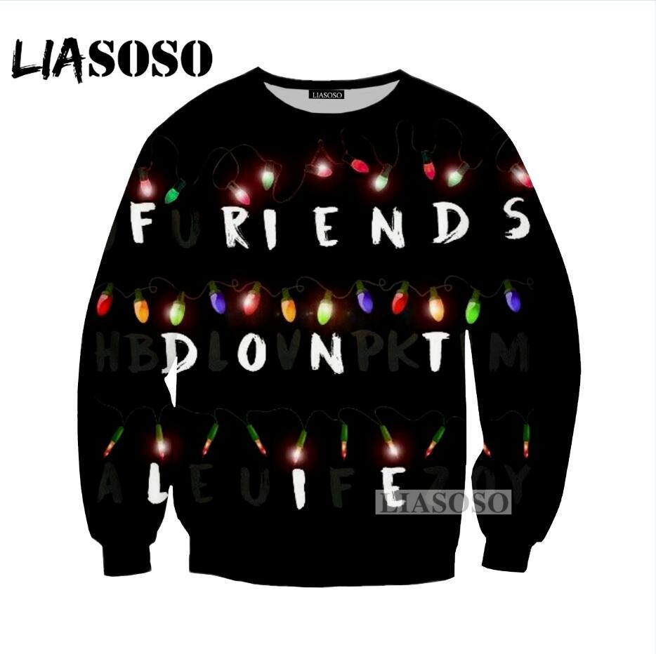 LIASOSOS 2018 NEW Fashion Stranger Things Sweatshirts 3D Printed New Design High Quality Hipster Cool Unisex Long Sleeve G051