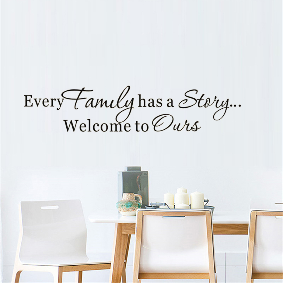 Family Story Art Decal For Living Room Home Decor Vinyl Wall Sticker Removable Wallpaper Self Adhesive Wall Art Mural Home Goods
