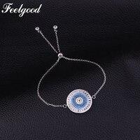 Feelgood Luxury Wedding Party Jewelry Chain Link Bracelets Round Micro Pave Turkey Blue Cubic Zirconia Bracelet