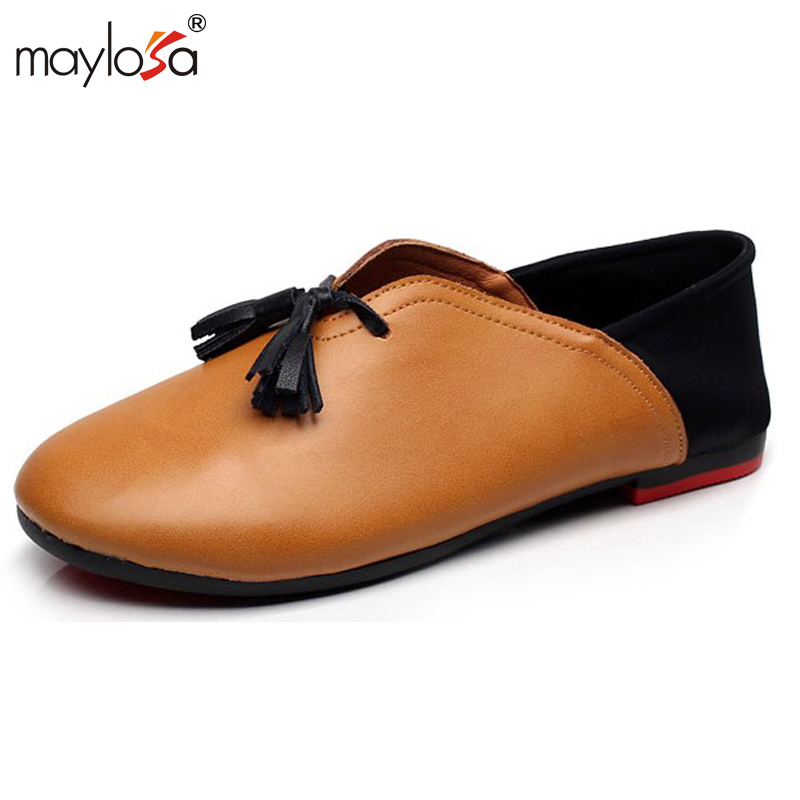 MAYLOSA Genuine Leather Flats Woman Handmade vintage women shoes female loafers soft Comfortable casual shoes Plus Size 43  цены в интернет-магазинах