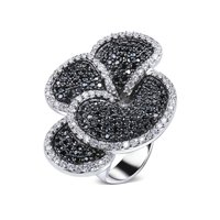 Elegant Party Ring For Women Big Flower Design Black And White Cubic Zircon Hot Pick Cocktail