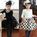 2-8Years Spring Autumn Girl clothing Kids Toddlers Girls Long Sleeve Wave Point Cotton Dress