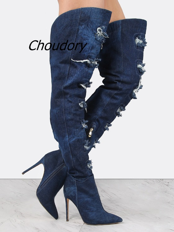 Trendy Dark Denim Distressed Thigh High Boots Sexy Pointy Stiletto Heel Jeans Long Boots Fashion Design Fringe Broken Edge Shoes цена