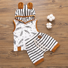 Baby Boy Outfits Newborn Hooded Feather T shirt Tops Striped Shorts Pants Clothes