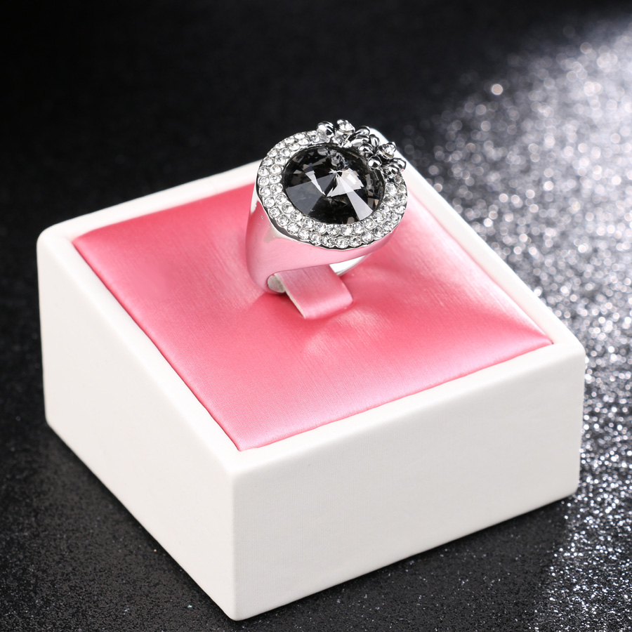 Kinel Korean Jewelry Gray Satellite Stone Ring Color Silver Mosaic ...