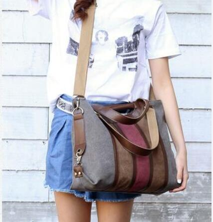 2019 women casual tote leather bags canvas Shoulder handbags laptop bolsa feminina crossbody sac a main