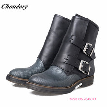Vintage Style Ladies Shoes Fashion Low Heels Martin Boots Buckle Strap Zipper Design Winter Boots Casual Prom Shoes Woman Botas