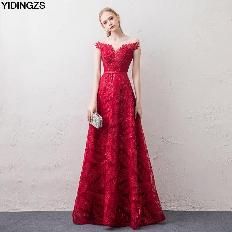 YIDINGZS Wine Red   Evening     Dress   Elegant V-neck Cap Sleeve Sequins Beading Party Long   Evening     Dresses