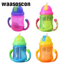 Baby Leakage Proof Drinking Trainer PP BottleTwo Handles Drop Resistant Water-tight Click Lock Weighted Flexi Straw