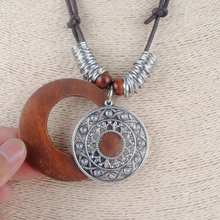 Ethnic Long Women's Wooden Pendant Necklace
