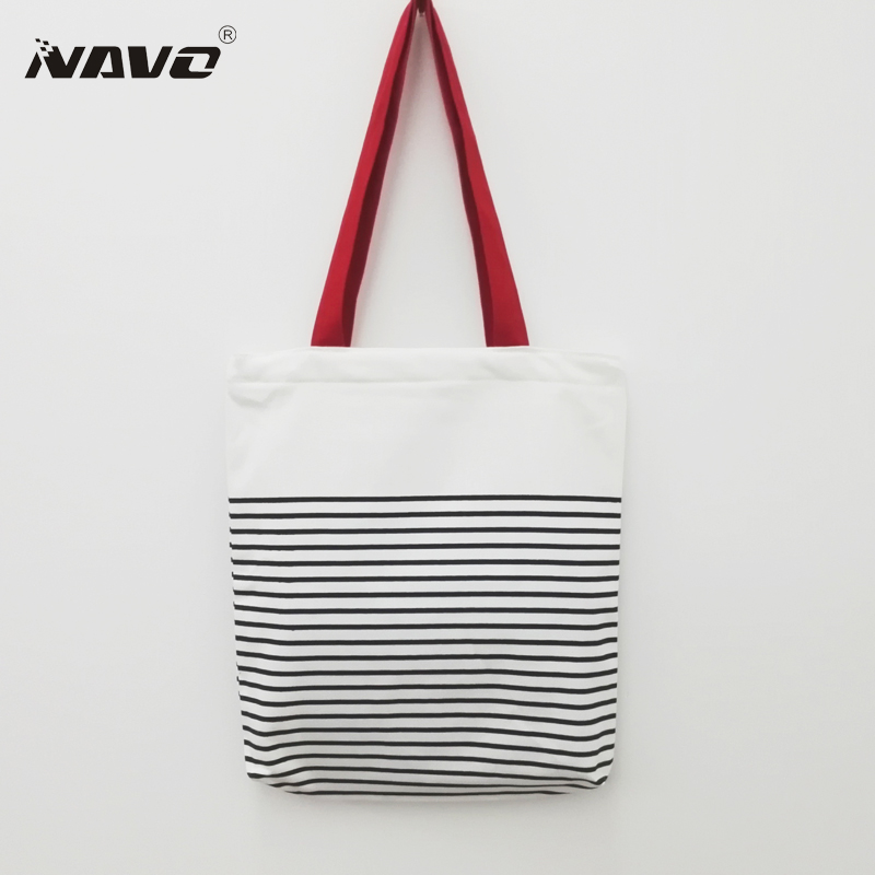 NAVO Canvas Shopping Bag Top Quality Stripe Printed Cotton Shoping Bag sac cabas toile Casual Handbag Eco Recycle Shoulder Bags ...