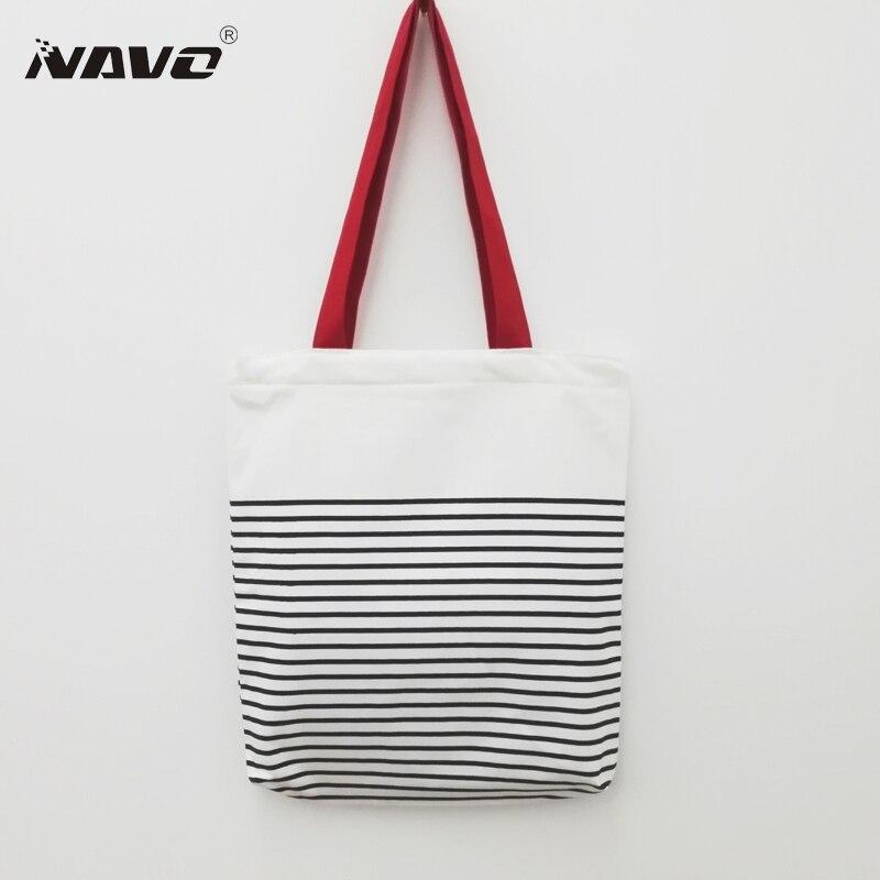 NAVO Canvas Shopping Bag Top Quality Stripe Printed Cotton Shoping Bag sac cabas toile Casual Handbag Eco Recycle Shoulder Bags ...