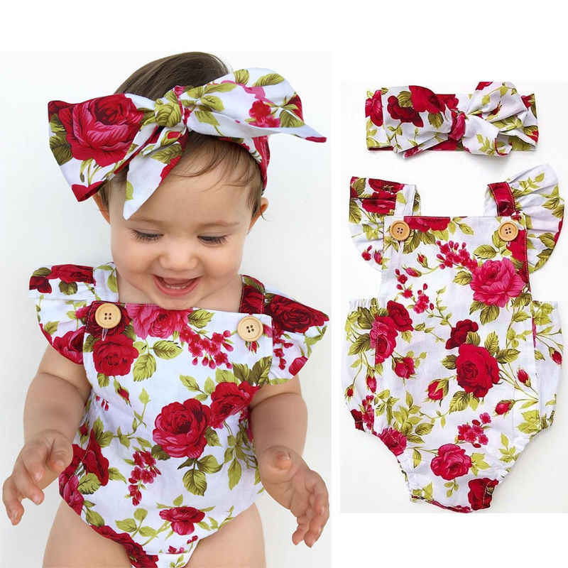 e30902293ac Newborn Baby Girls Clothes Flower Jumpsuit Bodysuit Headband Outfits  Children Clothing Girl Costume Cotton Cute Bodysuits