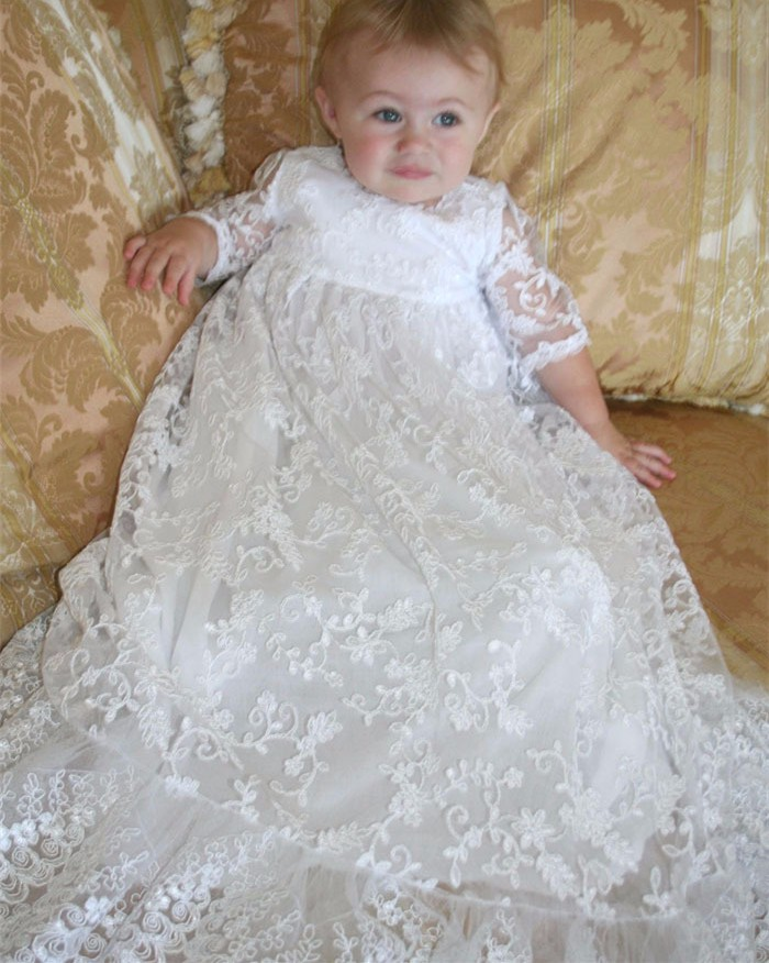 Ivory New Infant Birthday Dress Baby Girls Christening Gowns Short Sleeve Lace Baptism Dresses with Bonnet недорого