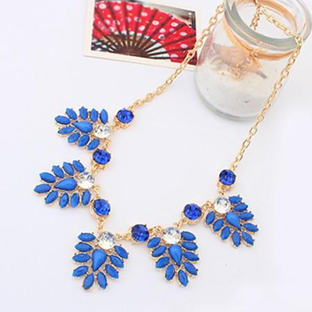 2014 New Fashion Hot Chain Shourouk Flower Leaf Crew Rhinestone Charm Bib Neon Statement Necklace & Pendants  Women Jewelry Gift