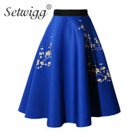 SETWIGG New Arrival Spring Scuba Puffy Floral Embroidery Midi A Line Skirts High Waist Stretch Plum