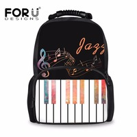 FORUDESIGNS Piano Music Notes Women Backpack Female Shoulder Bag Black Ladies Laptop Backpacks Students Teen Book Bag Best Gift