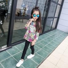 Female child top 2016 autumn child casual fashion print o-neck medium-long basic shirt sweatshirt