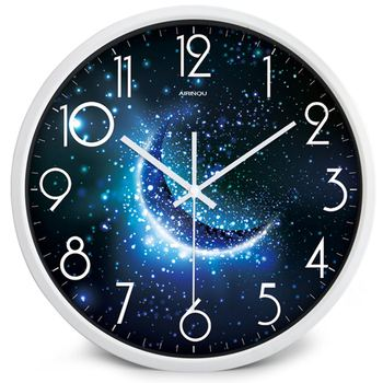 Airinou the Moon Starry Sky and Mars 3 Styles ,Glass&Metal Silent Movement Wall Clock,Children Room Museum Theme Park  Decorate 7