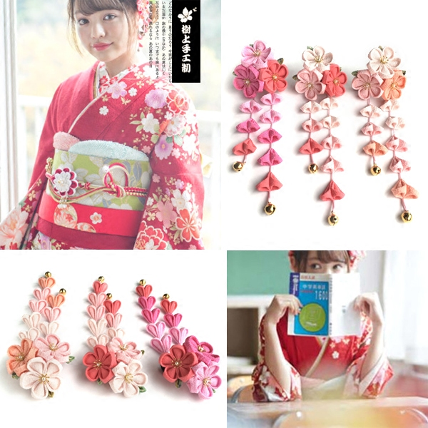 Beautiful Japanese Traditional Tassel Hair Sticks Kimono Bathrobes Headwear Traditional Ornament Handmade Cosplay  F