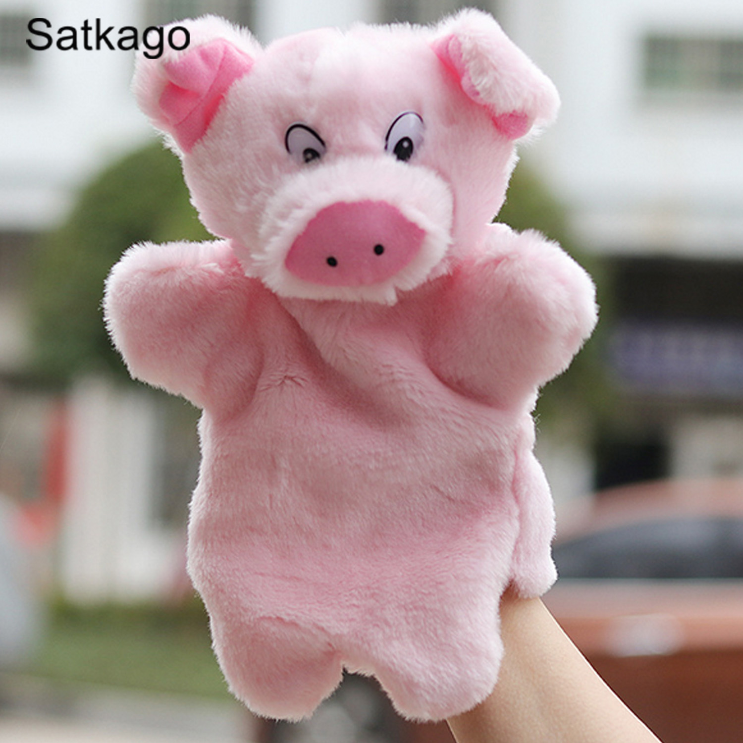 Satkago Cute Kawaii Pig Hand Puppets Soft Plush Hand Figures Cartoon Animal Toys Doll Baby Kids Children Educational Toys Pink