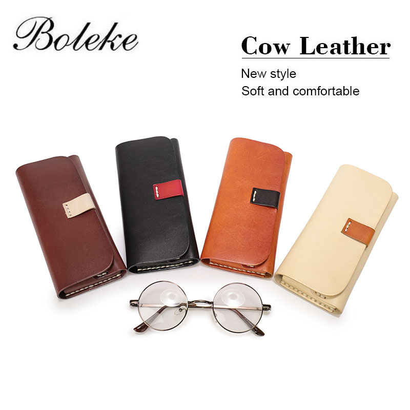 4f574632037d Men Women Handmade Thick Genuine Leather Eyeglass Case Clasp Vegetable  Tanned Leather Eyewear Sunglasses Case Phone Pouch Q021