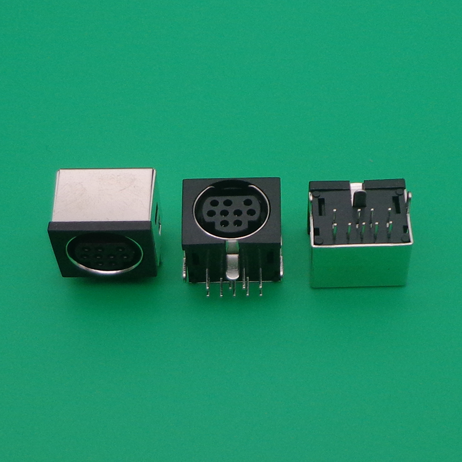 2pcs MD Housing Female DIN 9 Mini Pin S-video Adapter Socket Mini DIN Port Connector