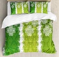 Irish Duvet Cover Set Aged Vintage Antique Figures on Green Toned Color Bands Celtic Historic Lace Image 4 Piece Bedding Set