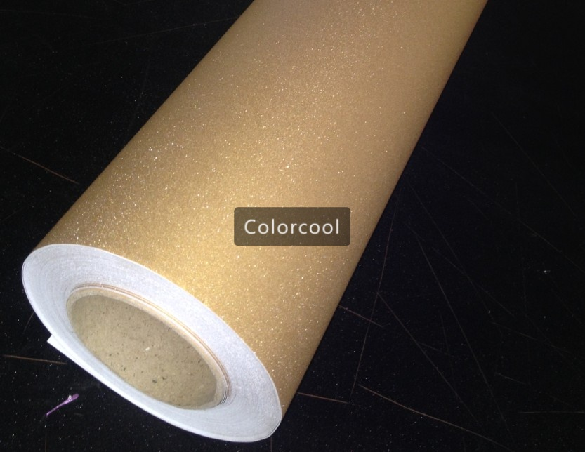 Gold Glitter Vinyl Car Wrap Film Brilliant Sandy sparkle diamond car vinyl adhesive sticker with air bubble free