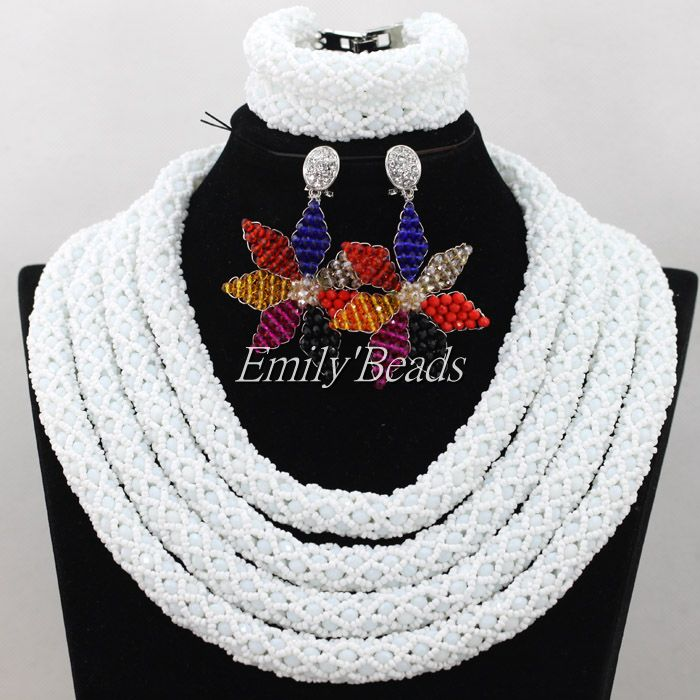 2016 Latest African Beaded Jewelry Set Bridal Jewelry Set White ...