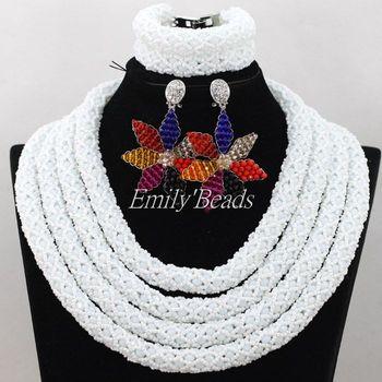 2016 Latest African Beaded Jewelry Set Bridal Jewelry Set White Nigerian Wedding Beads With Flower Earrings Jewelry Set AIJ728