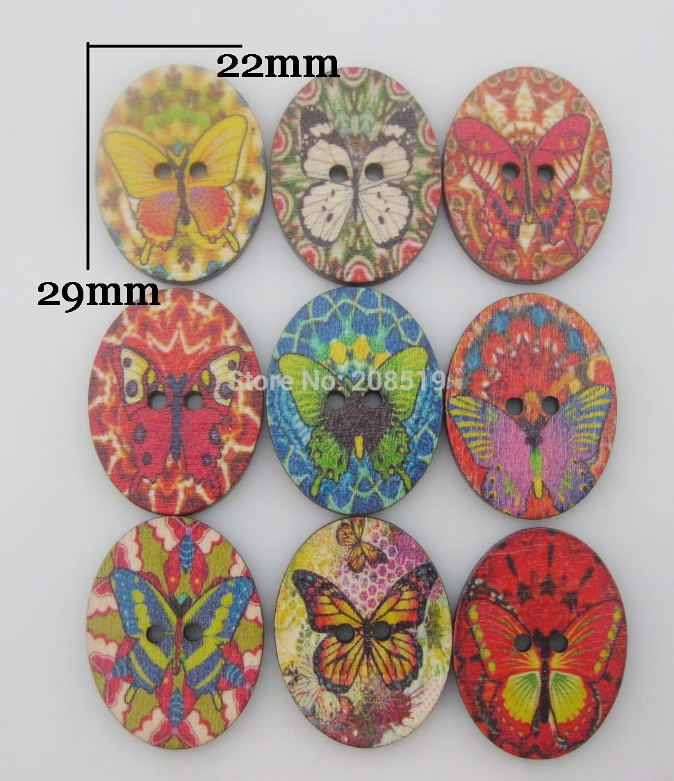 WB0267 овальной формы с принтом бабочки Кнопки смешать 200 шт. дерево кнопку записки аксессуары
