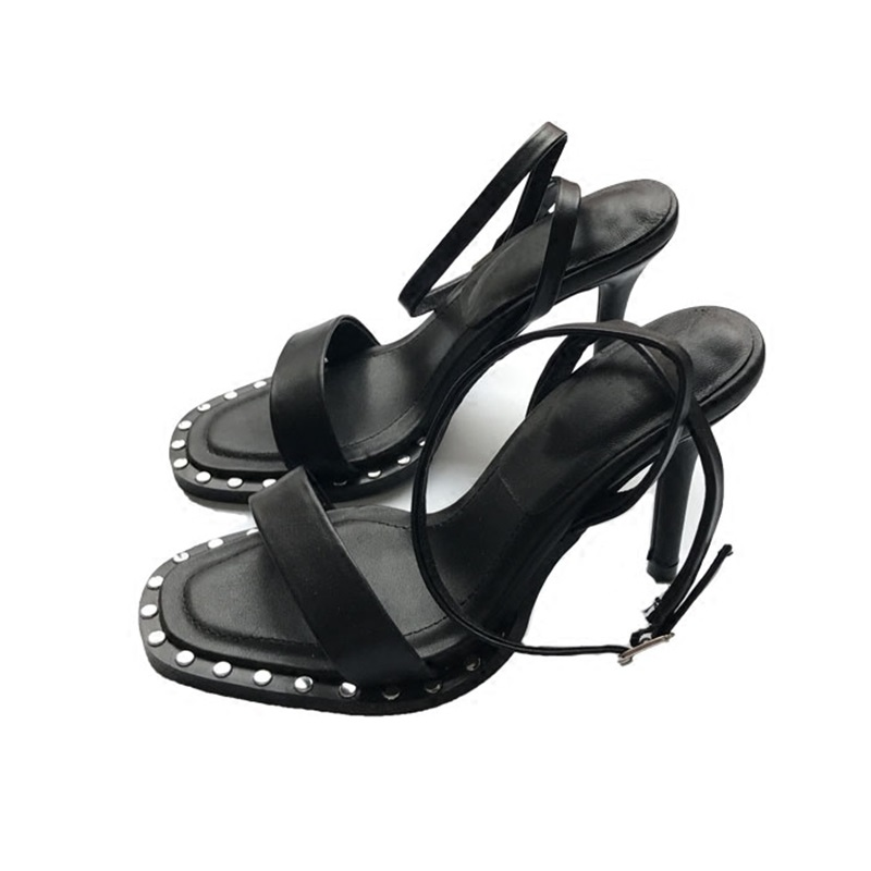 Brand Women Leather Rivet High Heels Female Shoes Sexy Ankle Summer Shoes Peep Toe Sandal sandalia feminina sexy women s peep toe shoes with multi layer fringe and rivet design