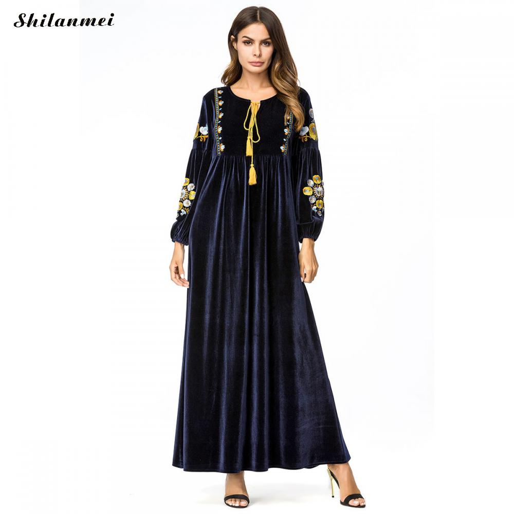 I Formato Di Caftano Della Islamico Kaftan Abbigliamento Maxi Arabo Abaya  Dubai Velluto Vestiti Donne Più Robe Turco Signora Abito Lungo ... 0c1b261fedc