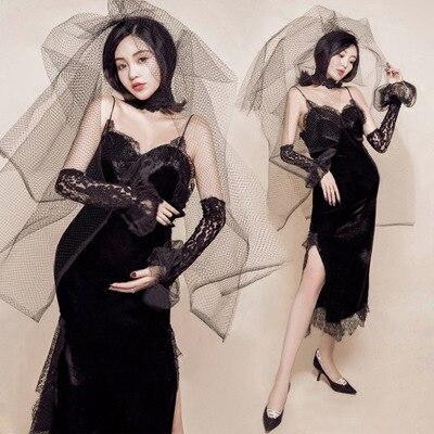2018 Black Maternity Dress for Photo Shoot Robe Grossesse Shooting Photo Pregnancy Dress Photography Sheath Dress black cowl neck high slit sheath dress
