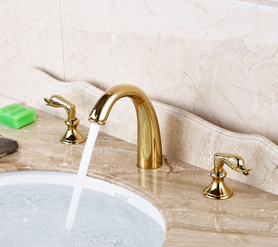 Deck Mounted Bathroom Sink Faucet Double Handles Three Holes Mixer Tap Gold Finished elegant chorme bathroom faucet deck mounted shape faucet three handles mixer tap