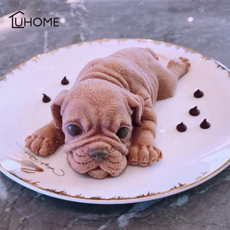 15x8x4cm Big 3D Shar Pei Shape Silicone Butter Cake Mould Puppy Dog Mold for Cake Decorating Animal Dessert Shop Chocolate Mould companion dog