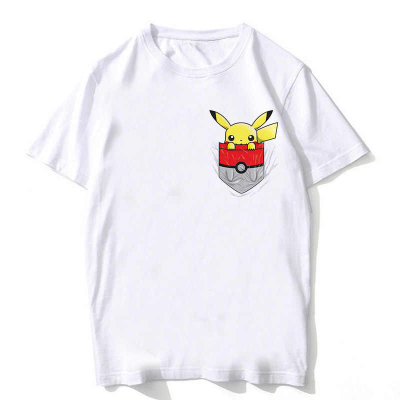 2e29910f Anime pokemon go plus Pikachu Pocket and Charmander men print T-Shirt boy  short sleeve
