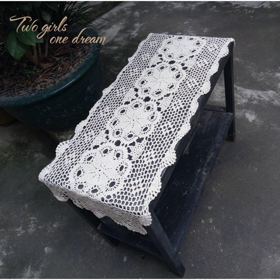 Hight Quality Handmade Crochet Paese Europeo Vintage Tabella Del Merletto Corridore Tessuto Cava Gonna Albergo Decorativo Tovaglia Stuoie