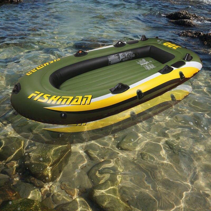 252*125*40 cm fishman 3 Personne PVC épais gonflable bateau de pêche gonflable kayak en aluminium pompe à palettes dériveur air radeau A06002