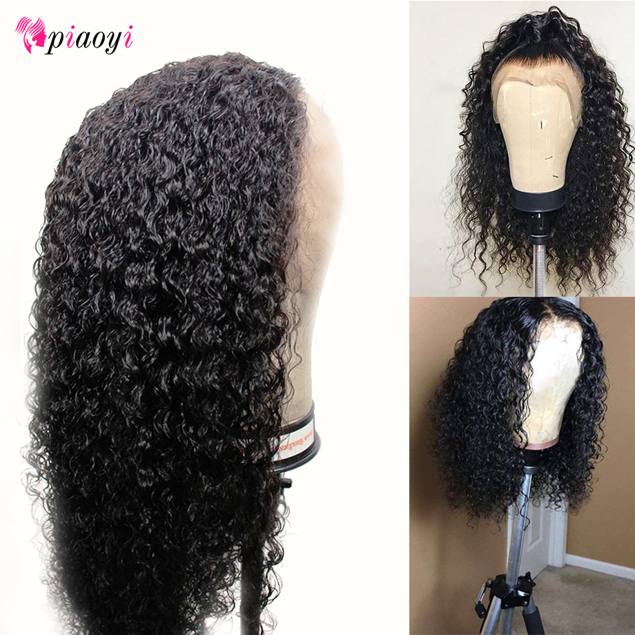 Piaoyi Kinky Curly Natural Color Bleached Knots Brazilian Remy 13 4 Lace Front Human Hair Wigs
