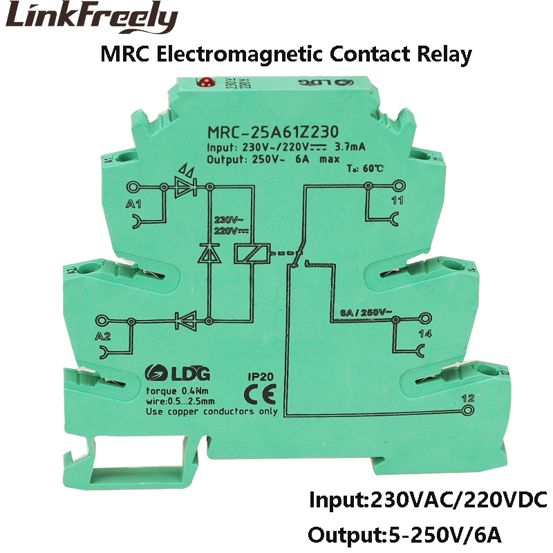 MRC-25A61Z230 6A Input 230VAC/220VDC Miniature Electromagnetic Contact  Cnterface Eelay Module AC Voltage Din Rail Relay boardMRC-25A61Z230 6A Input 230VAC/220VDC Miniature Electromagnetic Contact  Cnterface Eelay Module AC Voltage Din Rail Relay board