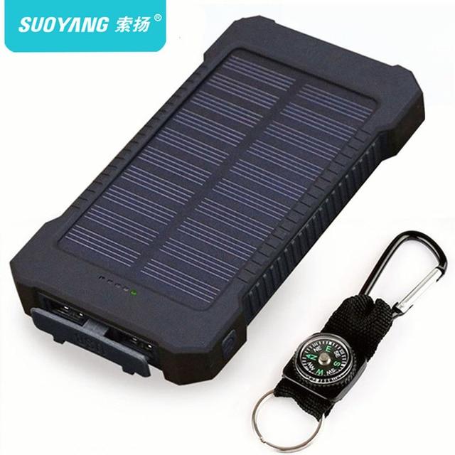 Parte superior del Banco de la energía Solar Cargador Solar de 30000 mAh, cargador de batería externa Solar impermeable Powerbank para Smartphone con luz LED