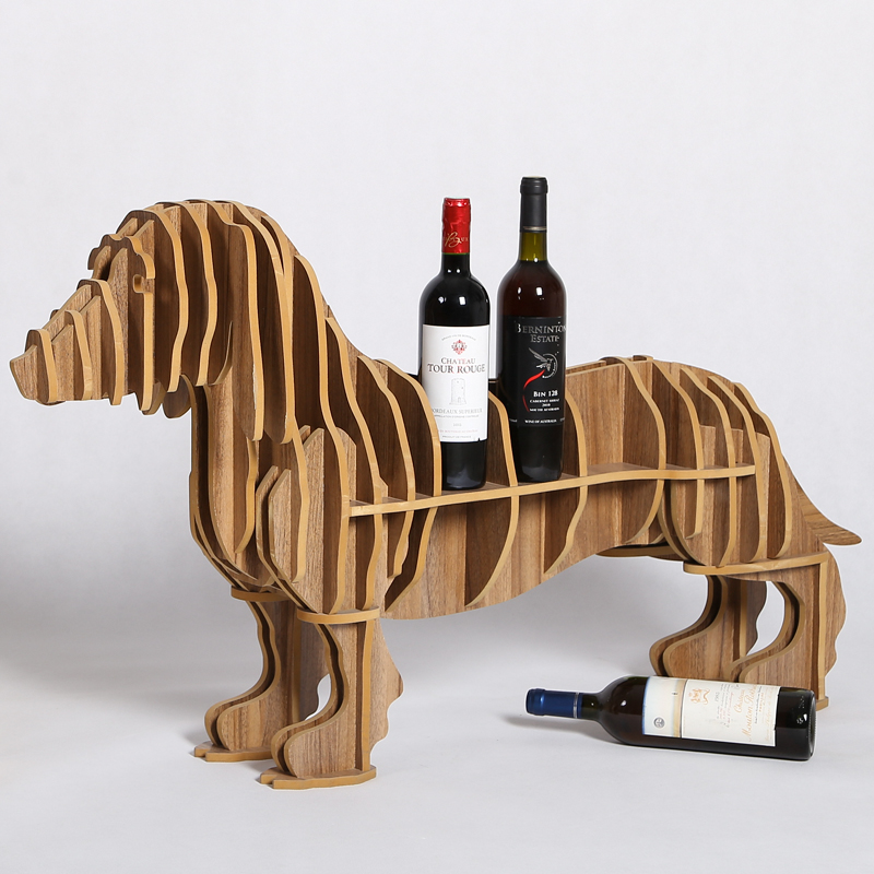Haut de gamme saucisse chien support de bouteille de vin bois maison meubles Table basse bureau TM007M