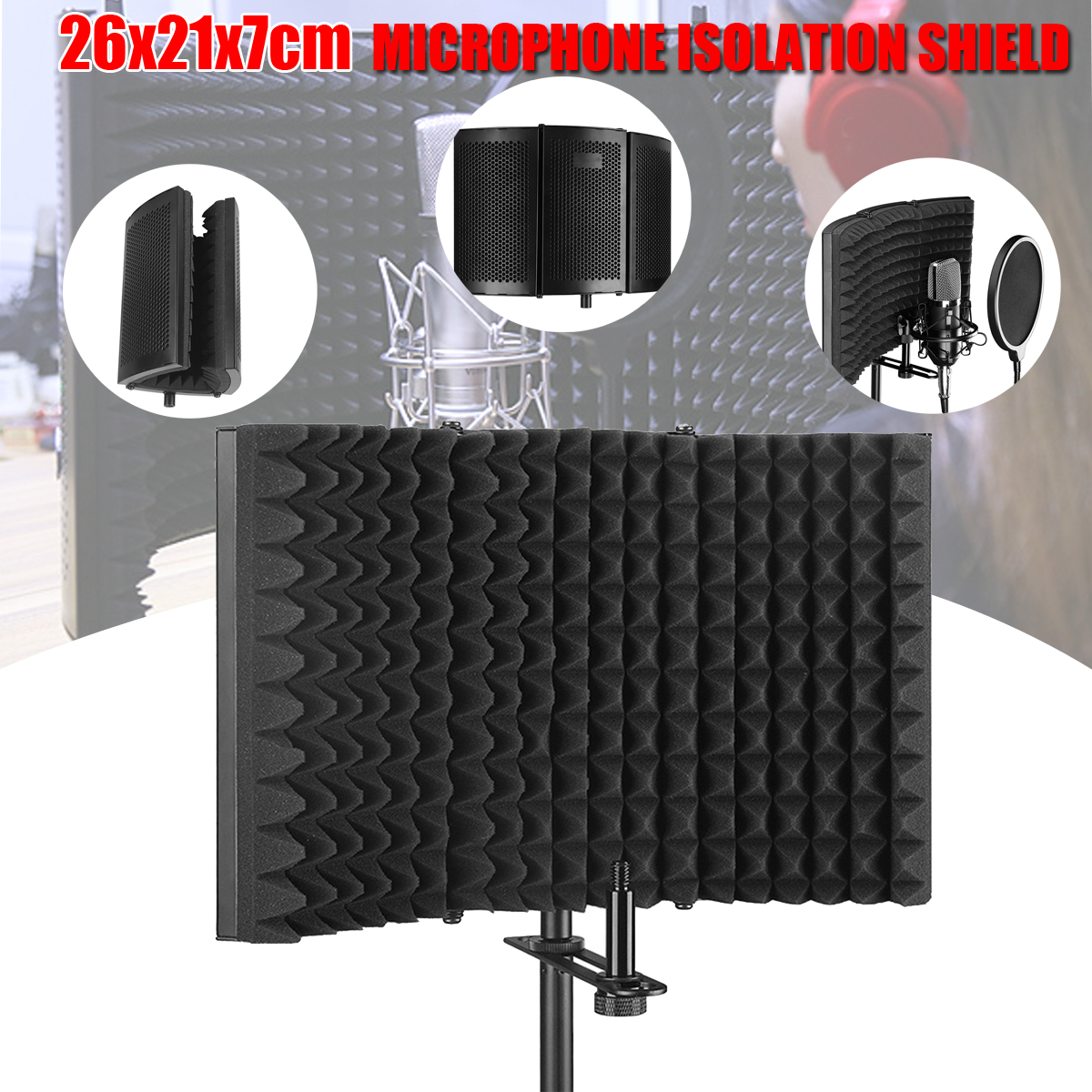 Foldable Microphone Acoustic Isolation Shield Acoustic EVA Foams Aluminum Isolator Panel for Recording Studio Live Broadcast acoustic metamaterials