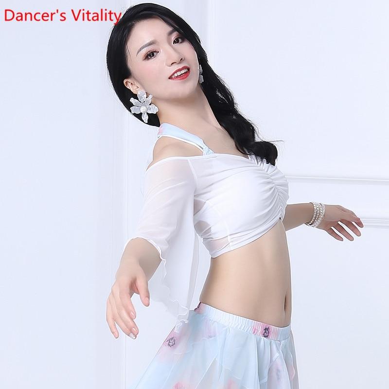 Belly Dance Top 2019 New Lotus Leaf Sleeve Mesh Trumpet Sleeve Sexy V-neck Oriental Dance Women Dance Top