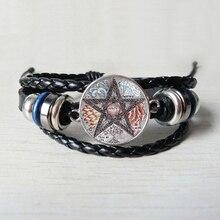 hot sale, flower figure five-pointed star pattern glass Leather bracelet, fashion wear black Leather bracelet jewelry. футболка black star wear black star wear mp002xm248yx