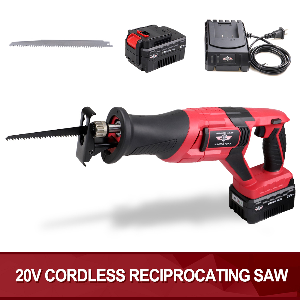 20V Lithium-ion Portable Reciprocating Saw Long Stroke 22mm 2700SPM Power Wood and Metal Cutting Saw with Saw Blades Sawzall