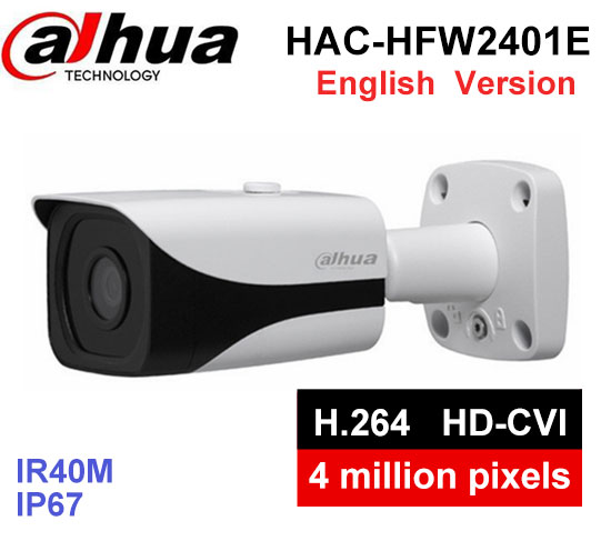 Dahua 4MP WDR HDCVI Bullet Camera HAC-HFW2401E lens3.6mm Max. IR40m waterproof IP67 CCTV security camera бра odeon light alvada 2911 3w