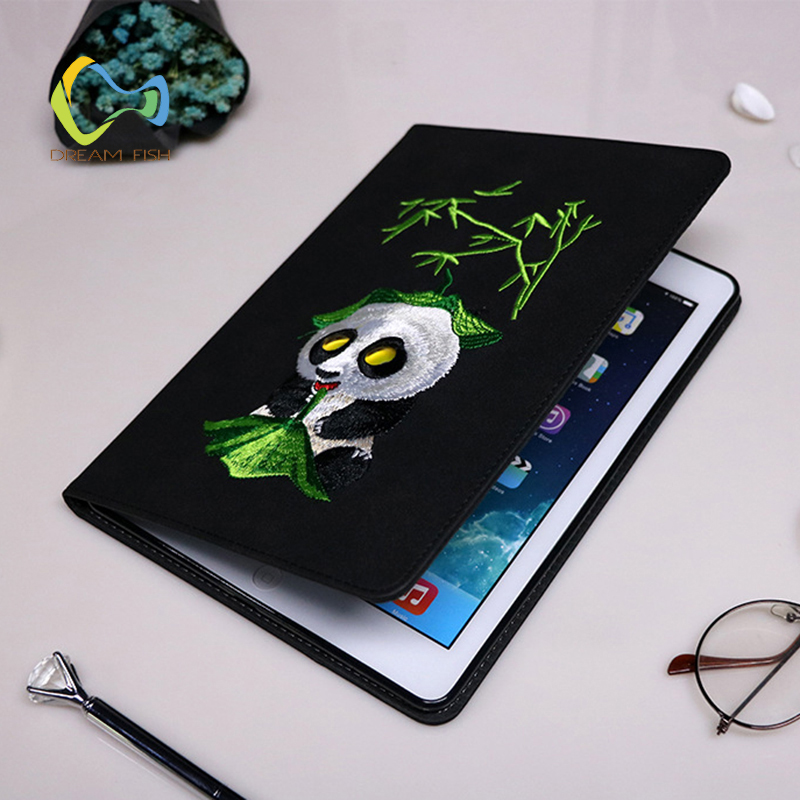 DREAM FISH 2018 New PU Leather Embroidered cute panda Cover for iPad mini 1/2/3 case stand Cover forro para for ipad mini 4 case